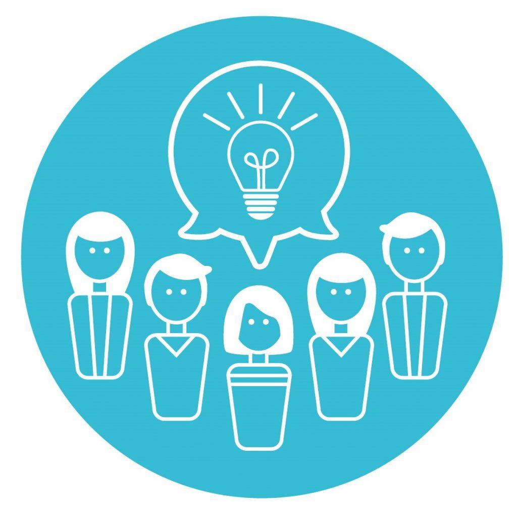 Icon mit Figuren und Glühbirne für Pädagogisches Begleitkonzept