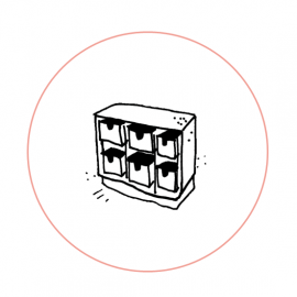 Regal mit Kreis Quadrat